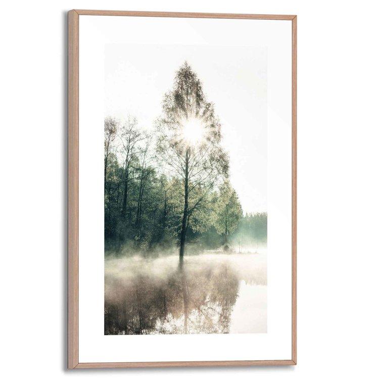 Zon door de bomen  Landschap - Natuur - Zon - Weerspiegeling - Schilderij Slim Frame 20 x 30 cm MDF