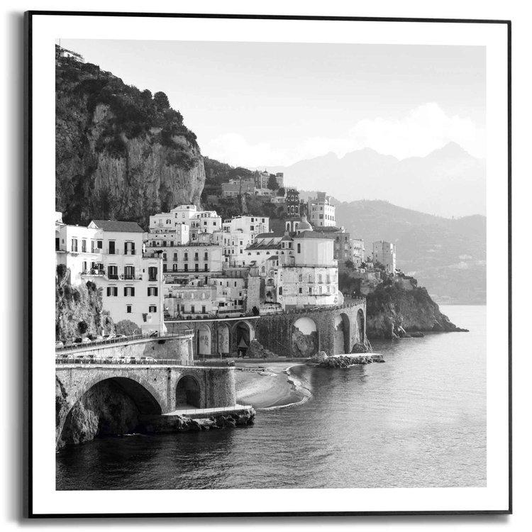 Mediteraneese Zee  Italie - Stadsgezicht - Kustlijn - Schilderij Slim Frame 50 x 50 cm MDF