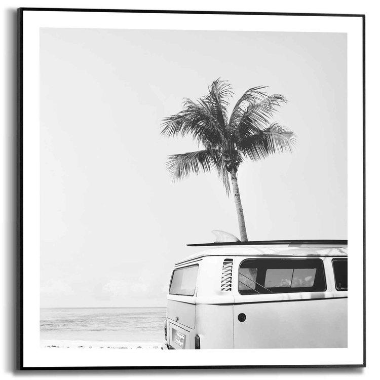 Vintage VW Bus Palmboom - Zee - Vrijheid - Surf - Strand   - Schilderij Slim Frame 50 x 50 cm MDF