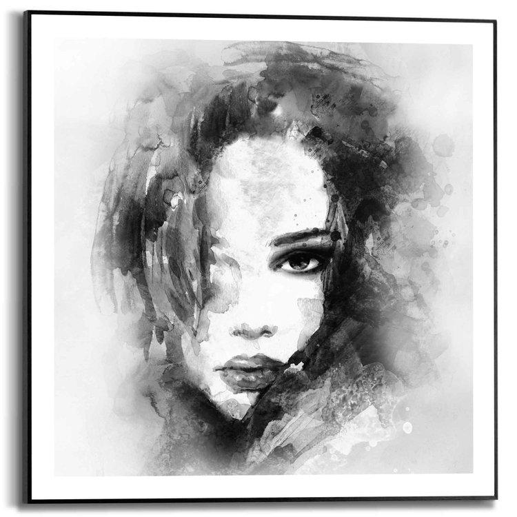 Vrouw  Abstract - Portret - Illustratie  - Schilderij Slim Frame 50 x 50 cm MDF