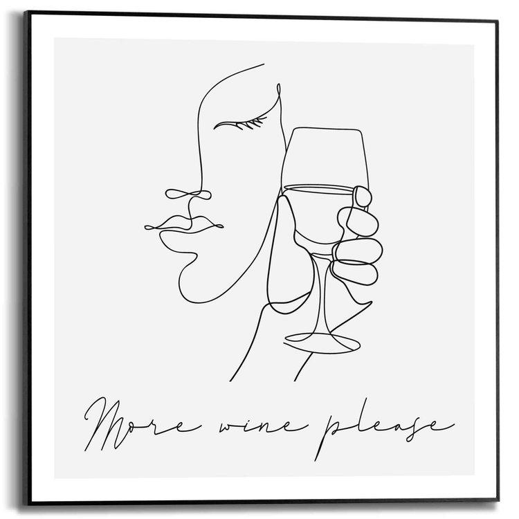 Geniet  Lijntekening - Wijn - Glas - Abstract  - Schilderij Slim Frame 50 x 50 cm MDF