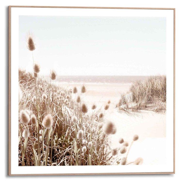Strand Helmgras - Zee - Rust  - Schilderij Slim Frame 50 x 50 cm MDF