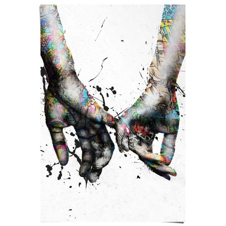 Liefde Kleurrijk - Romantiek - Handen - Wandelen  - Poster 61 x 91.5 cm Papier