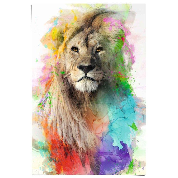 Leeuw  Watercolour - Kleurrijk - Jungle  - Poster 61 x 91.5 cm Papier