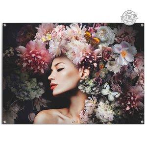 Tuinposter  Vrouw met bloemenhoed