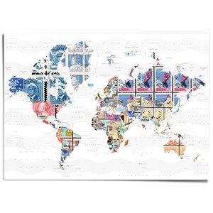 XXL Poster Wereldkaart postzegels