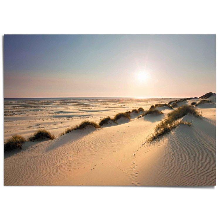 Noordzee duinen Strand - Zonsondergang - Zee - Zon - XXL Poster 140 x 100 cm
