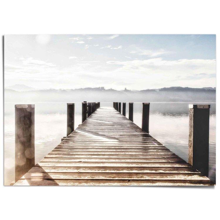 Steiger Meer - Natuur - Vlonder - Hout - XXL Poster 140 x 100 cm