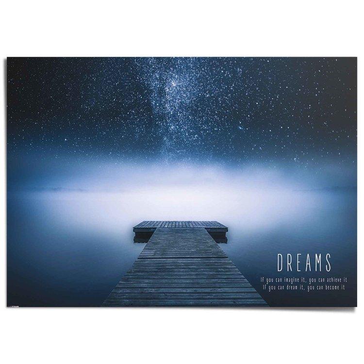 Verwezenlijk je dromen! Spreuk - Mindset - Motivatie - XXL Poster 140 x 100 cm