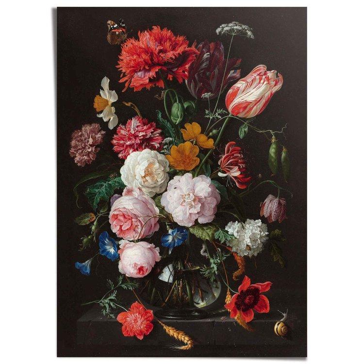 Stilleven met bloemen Jan Davidsz de Heem - Boeket - Oude Meester - Rijksmuseum - XXL Poster 100 x 140 cm
