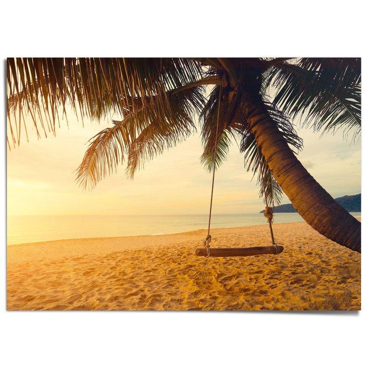 Schommel op een palmenstrand  Tropisch - Zon - Warmte - Zee - XXL Poster 140 x 100 cm