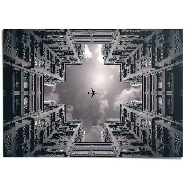 Hong Kong Vliegtuig boven de stad - XXL Poster 140 x 100 cm