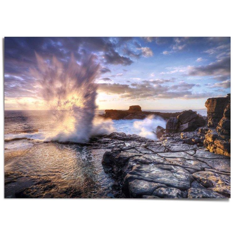 Springvloed Water - Natuur - Oceaan - Rotsen - XXL Poster 140 x 100 cm