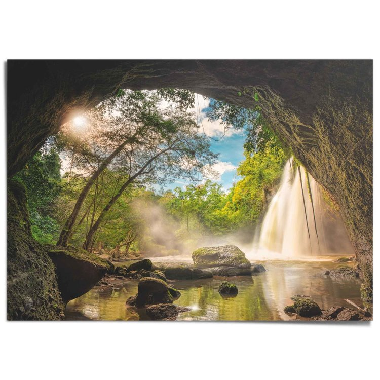 Grot Uitzicht - Natuur - Water - Bomen - XXL Poster 140 x 100 cm