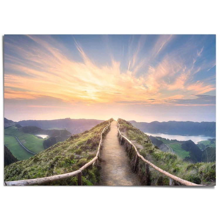 Morgenrood  Zonsopkomst - Ponta Delgada Azoren - Landschap - Bergen - XXL Poster 140 x 100 cm