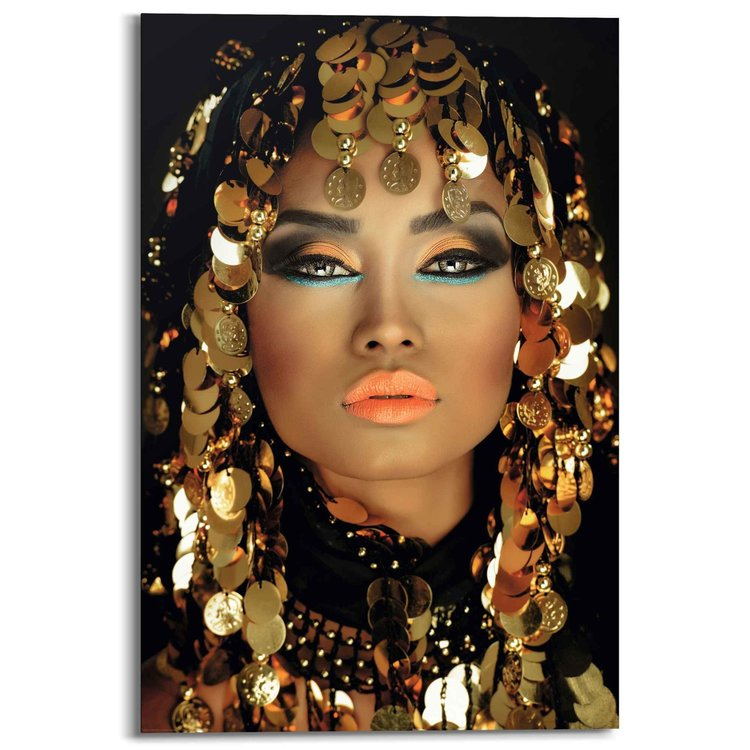 Arabische Prinses Make-Up - Goud - Portret - Schilderij Deco Panel 60 x 90 cm Hout