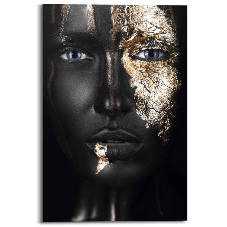 Goud Vrouw - Gezicht - Make up - Donker - Portret - Schilderij Deco Panel 60 x 90 cm Hout