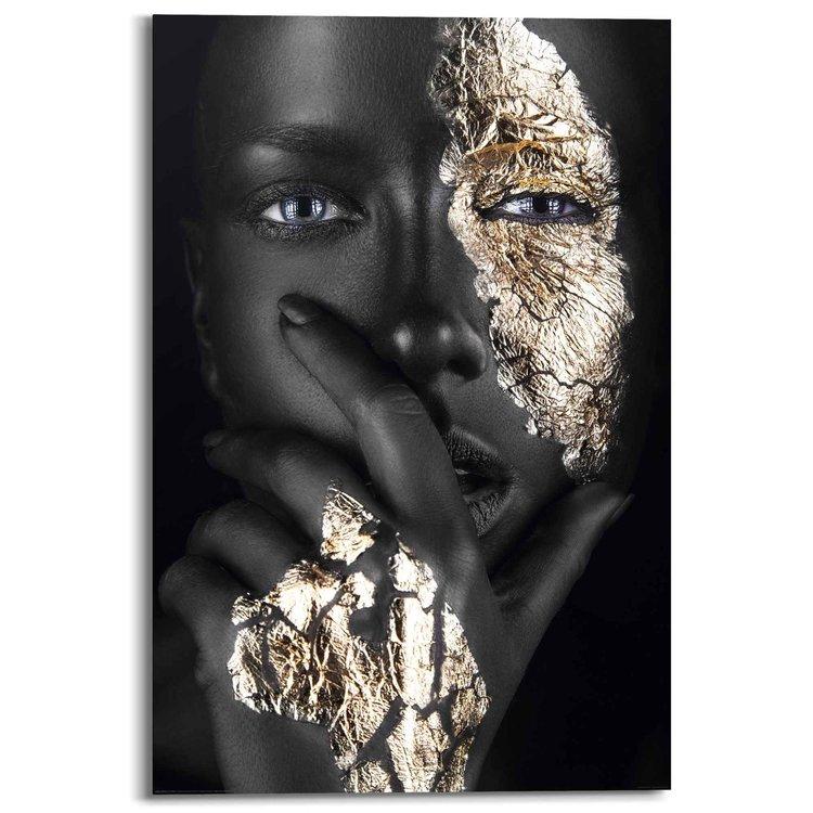 Gouden hand Vrouw - Gezicht - Make up - Donker - Portret - Schilderij Deco Panel 60 x 90 cm Hout