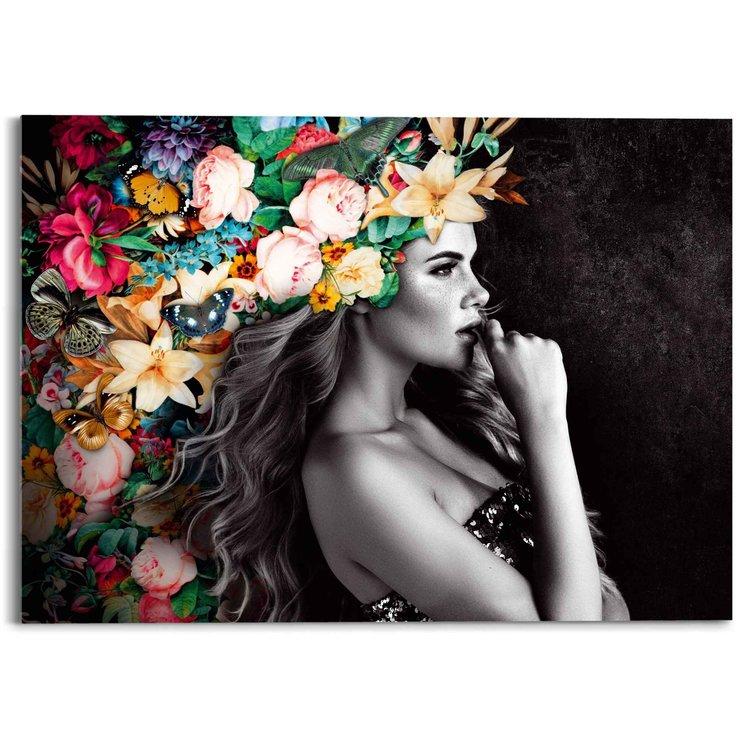 Elegante Vrouw  Kleurrijk - Bloementooi - Sensueel - Feestelijk - Acrylglas 70 x 50 cm Plexiglas