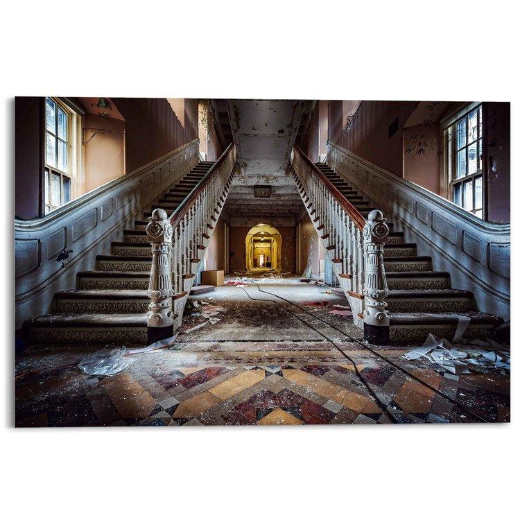 Verlaten trappen Symmetrie - Gebouw - Fotografie - Urban - Acrylglas 120 x 80 cm Plexiglas