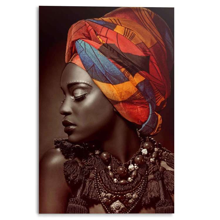 Afrikaanse Vrouw Kleurrijk - Shawl - Hoofddoek - Acrylglas 80 x 120 cm Plexiglas
