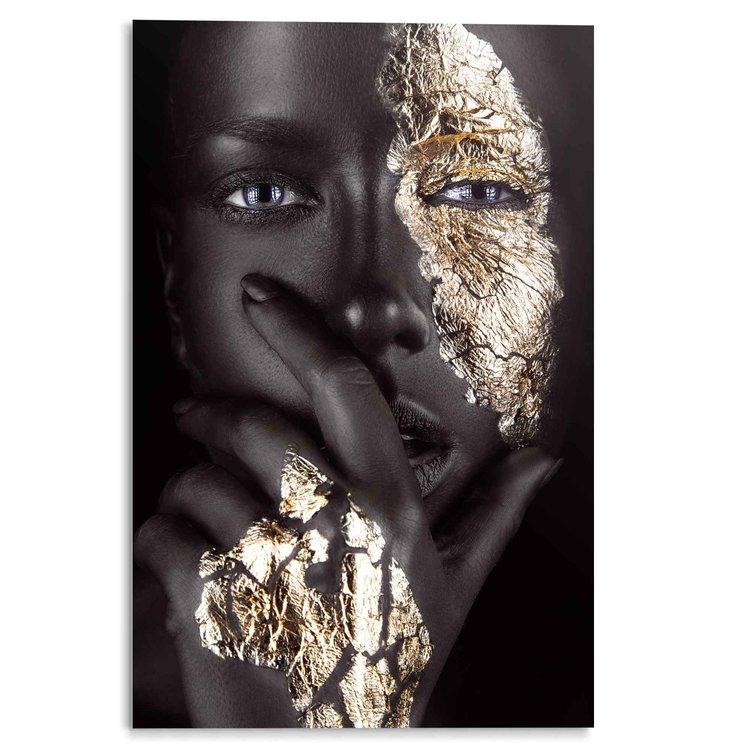 Goud Vrouw - Portret - Make-Up - Donkere Huidskleur  - Acrylglas 80 x 120 cm Plexiglas