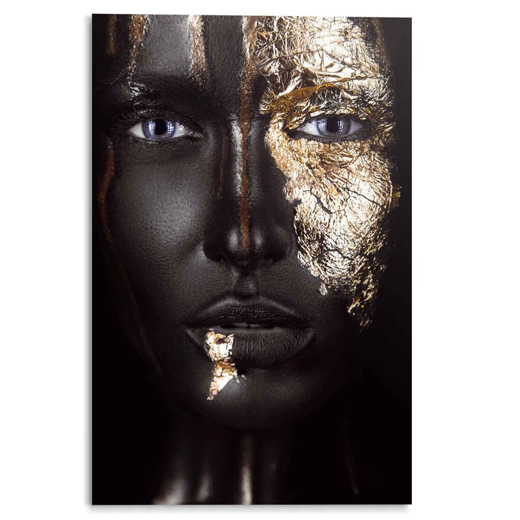 Goud Vrouw - Gezicht - Portret - Make-Up - Donkere Huidskleur - Acrylglas 80 x 120 cm Plexiglas