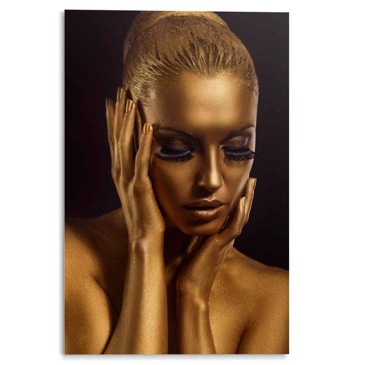 Vergulde Vrouw Goud - Wimpers - Portret - Acrylglas 80 x 120 cm Plexiglas