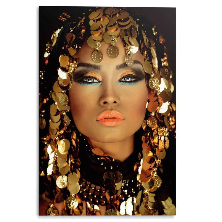 Arabische Prinses Make-Up - Goud - Portret - Acrylglas 80 x 120 cm Plexiglas