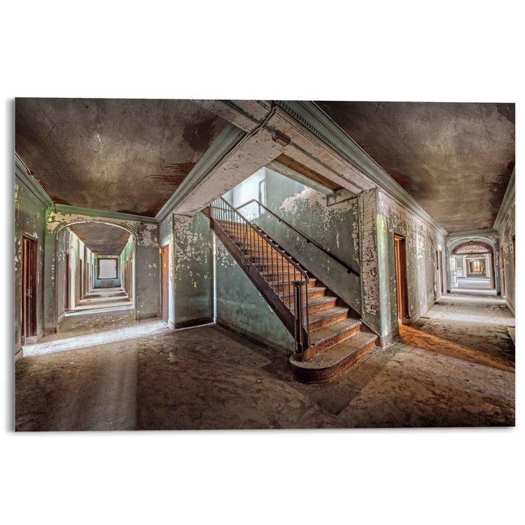 Verlaten Ziekenhuis Industrieel - Vervallen - Oud - Trap - Acrylglas 120 x 80 cm Plexiglas