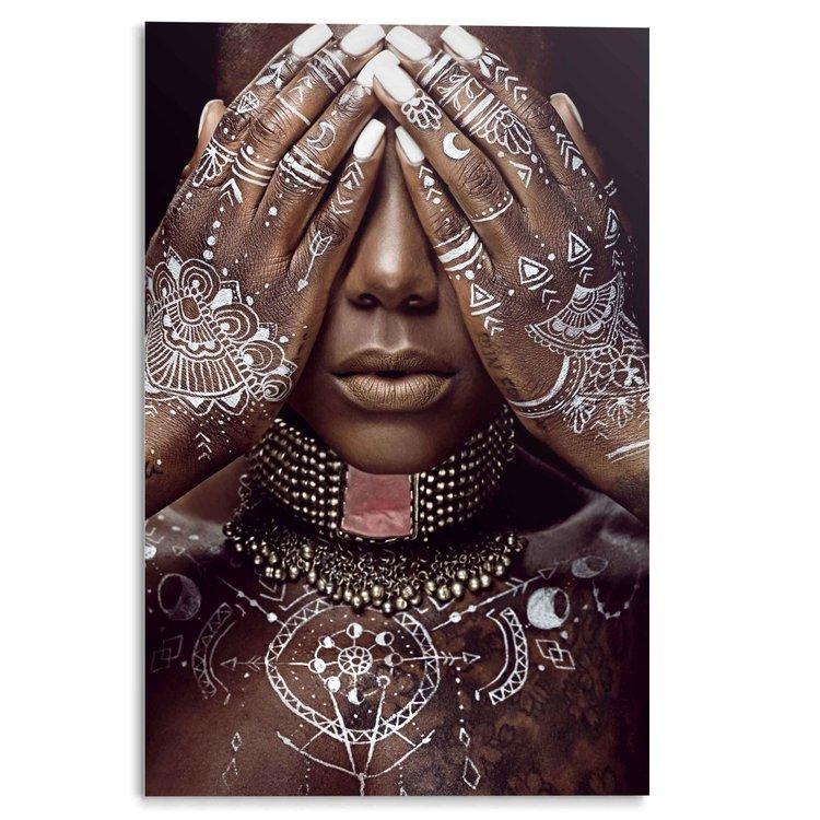 Afrikaanse Vrouw Juwelen - Witte schildering - Henna - Ritueel - Acrylglas 80 x 120 cm Plexiglas