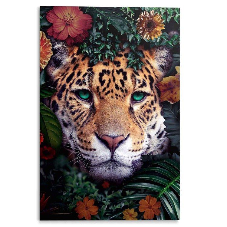 Jungle luipaard Bloemen - Planten - Kleurrijk - Acrylglas 80 x 120 cm Plexiglas