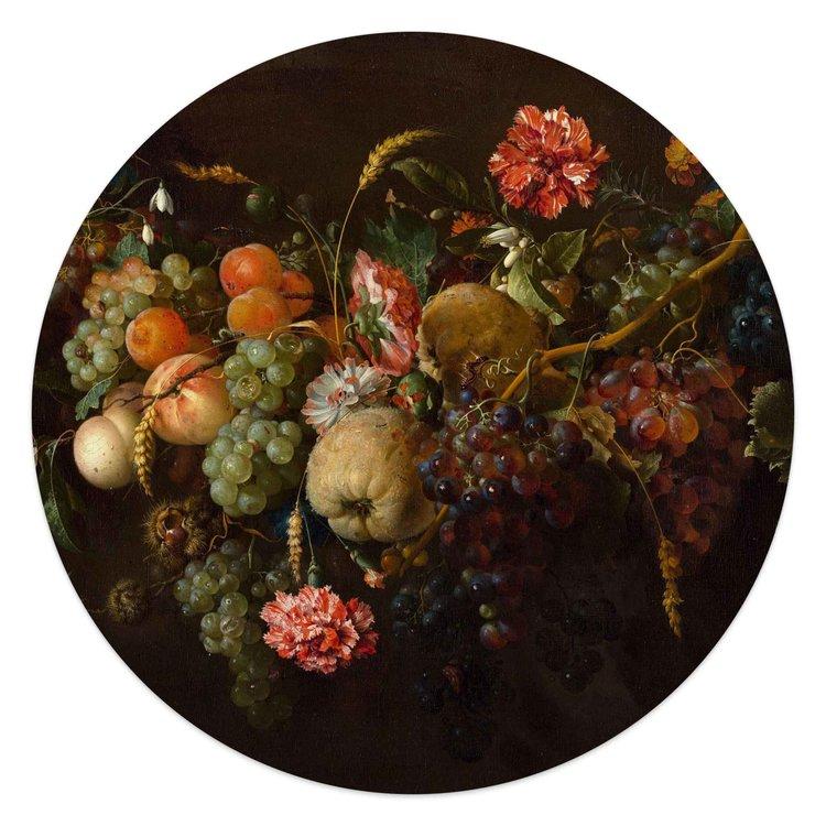 Jan Davidsz de Heem Stilleven - Fruit - Bloemen - Oude Meester  - Acrylglas  Ø50 Plexiglas