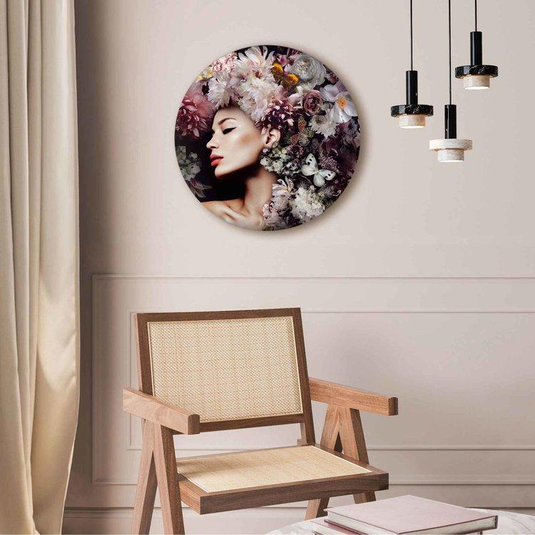 Vrouw met bloemenhoed  Vrouw - Vlinder - Boeket - Romantisch  - Acrylglas Plexiglas