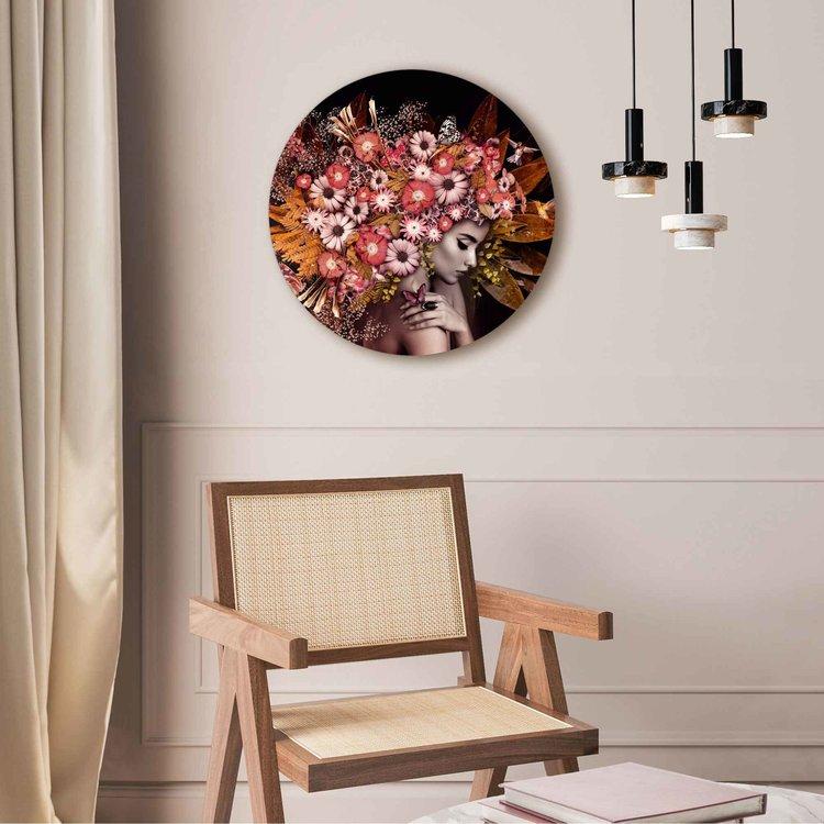 Bloemenrijkdom Vrouw - Vlinder - Boeket - Romantisch  - Acrylglas Plexiglas