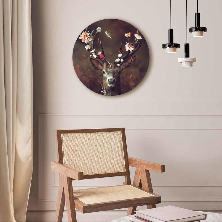 Hert  Romantisch - Kolibri - Vlinder - Bloemenkrans  - Acrylglas Plexiglas