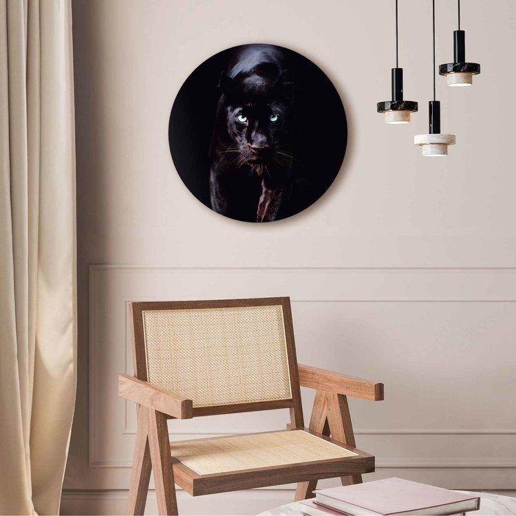 Zwarte Panter Donker - Dierenportret - Krachtig   - Acrylglas Plexiglas