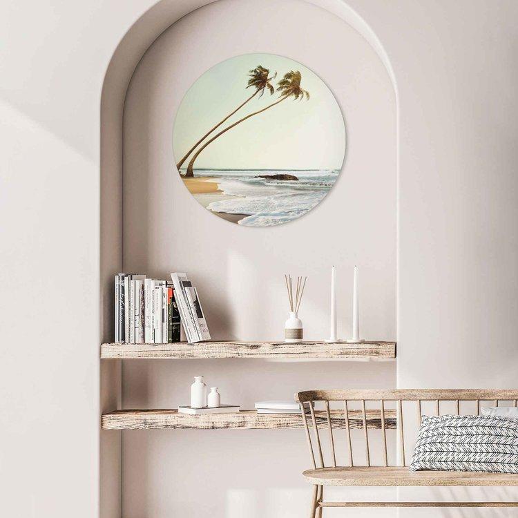 Wuivende Palmen  Sri Lanka - Strand - Zee - Golven  - Acrylglas Plexiglas