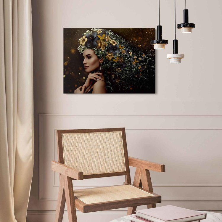 Elegante vrouw  Bloemen - Feestelijk - Vlinders - Elegantie - Acrylglas Plexiglas