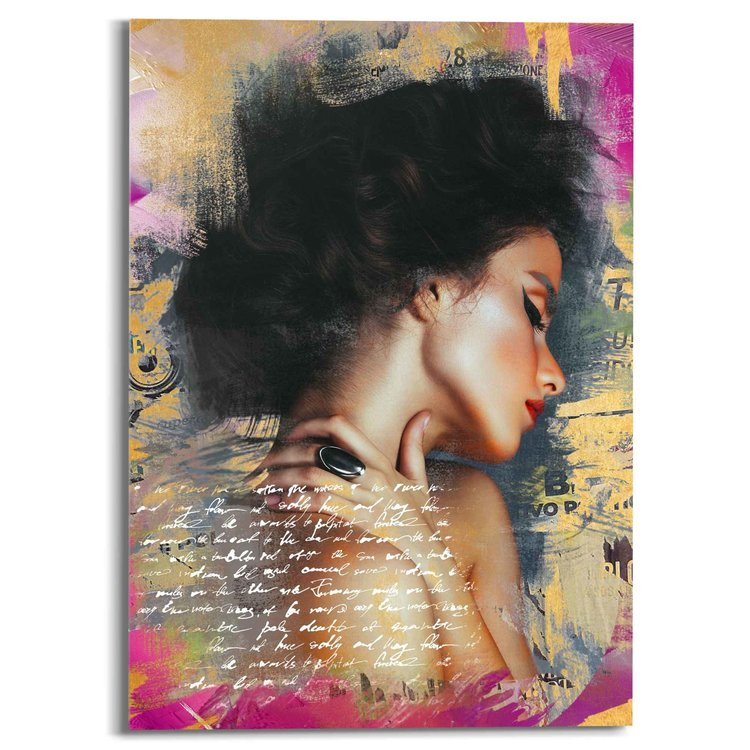 Glamour Lady  Kleurrijk - Sensueel - Modern - Paper Art  - Acrylglas Plexiglas