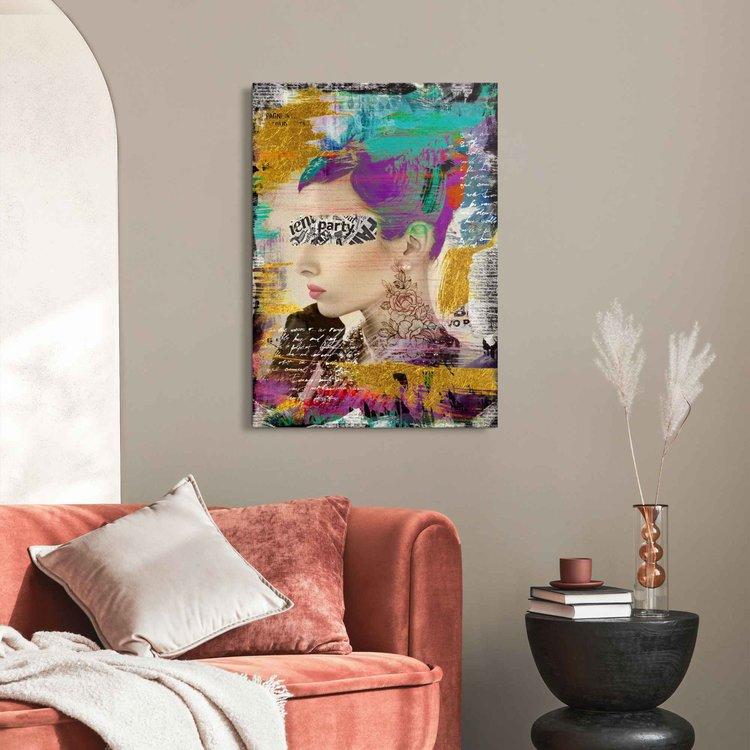 Mysterious Woman Kleurrijk - Modern - Tekst - Paper Art - Acrylglas Plexiglas