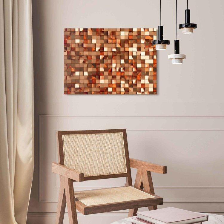 Kubistisch Goud  Kunst - Vierkant  - Acrylglas Plexiglas