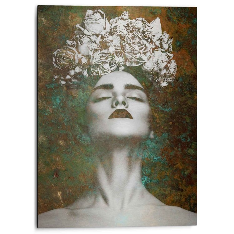 Vrouw met bloemenkrans  Krachtig - Sensueel - Kleurrijk  - Alu-Dibond Aluminium