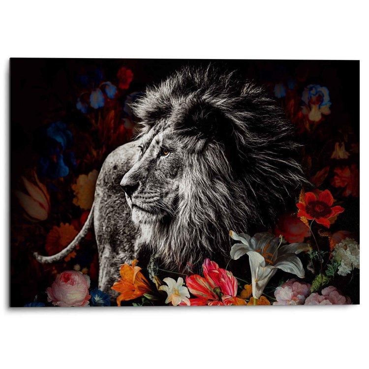 Leeuw in Bloemen de Heem - Krachtig - Kleurrijk - Alu-Dibond Aluminium