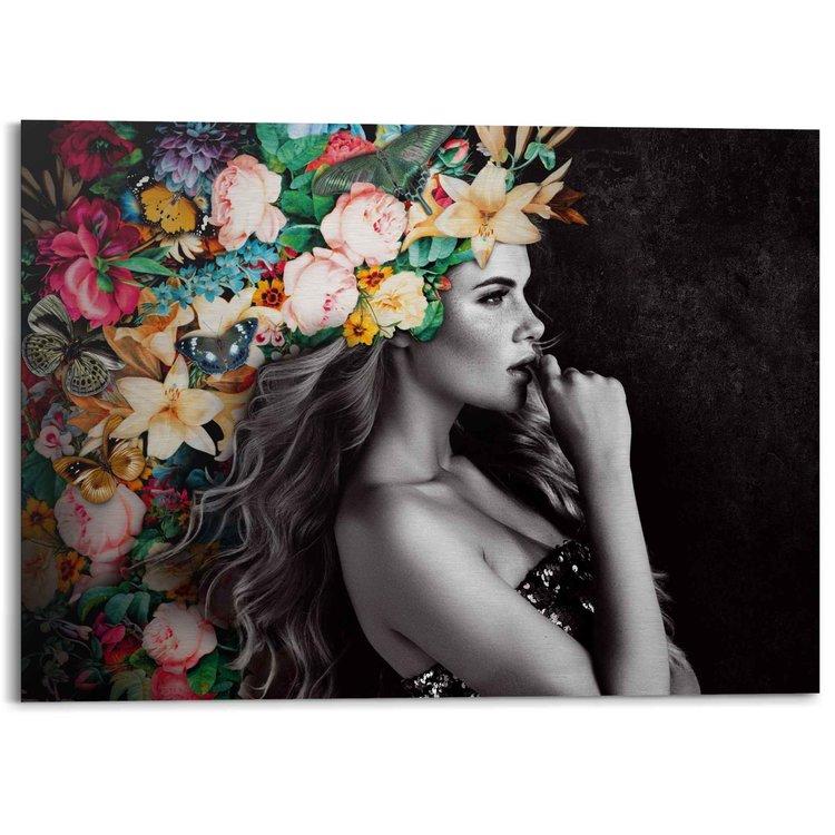 Elegante Vrouw  Kleurrijk - Bloementooi - Sensueel - Feestelijk - Alu-Dibond Aluminium