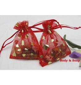 Organza zakjes rood-goud (hartjes)