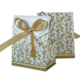 Doosjes voor bedankjes goud/wit 25 stuks