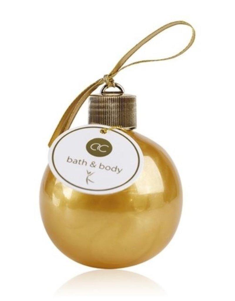Kerstbal (goud) gevuld met bad- en douchegel 240ml - Body & Soap