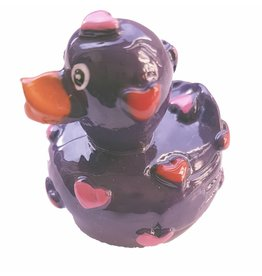 Lipgloss 'Pucker Duck' Paars met Rood/Roze hartjes