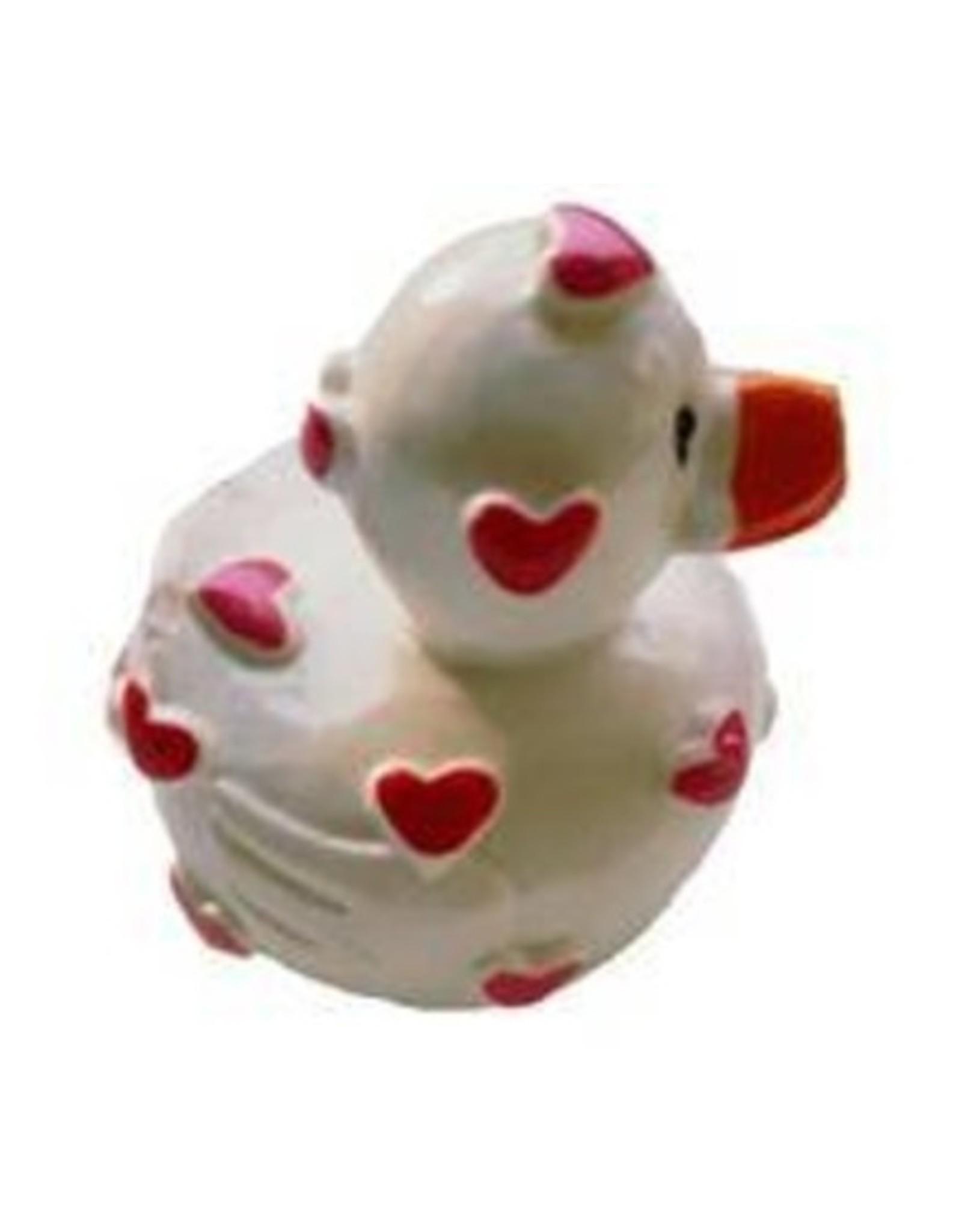 Lipgloss 'Pucker Duck' Wit met Rood/Roze hartjes - Body & Soap